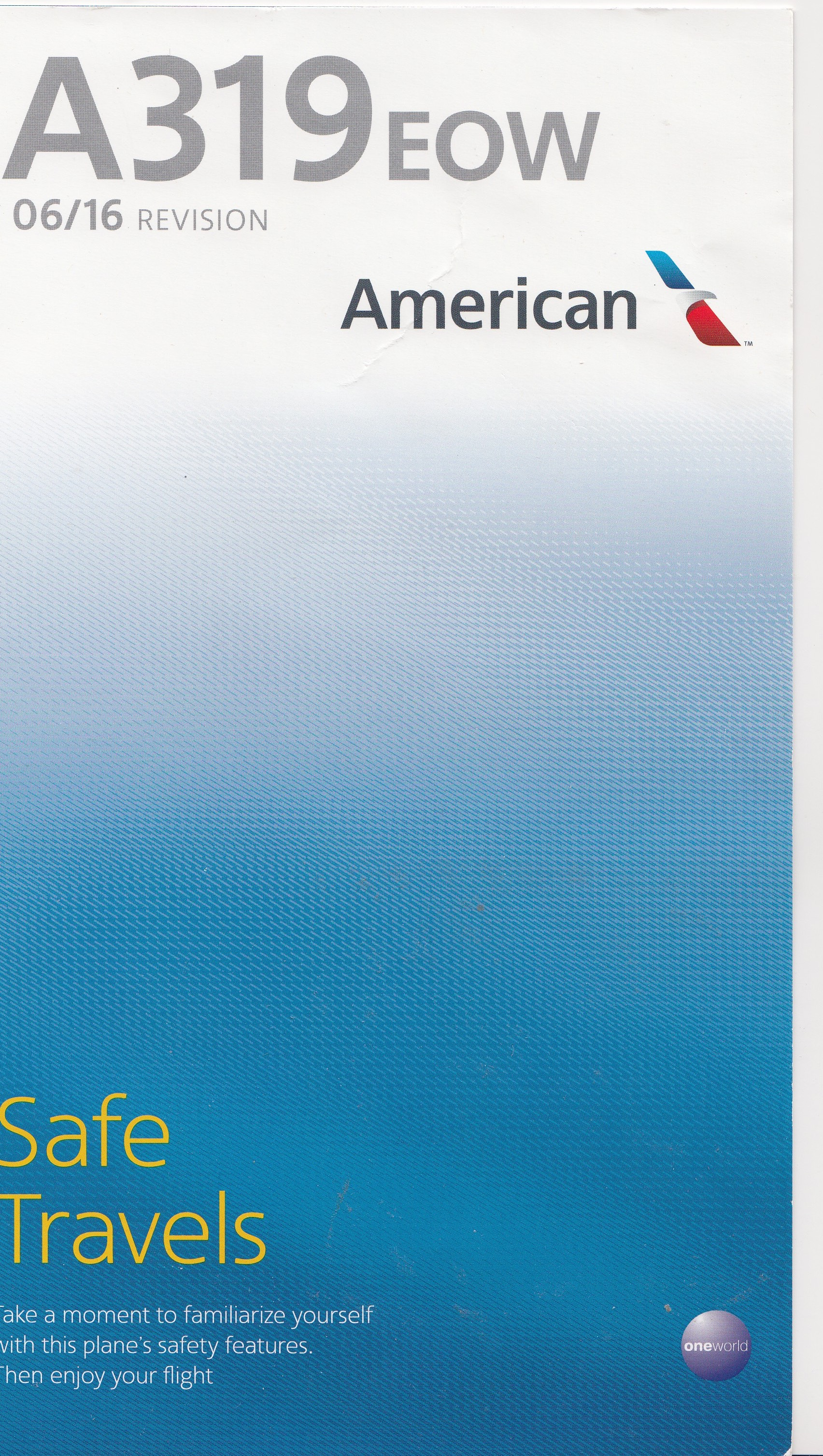 American Airlines A319EOW Safety Card