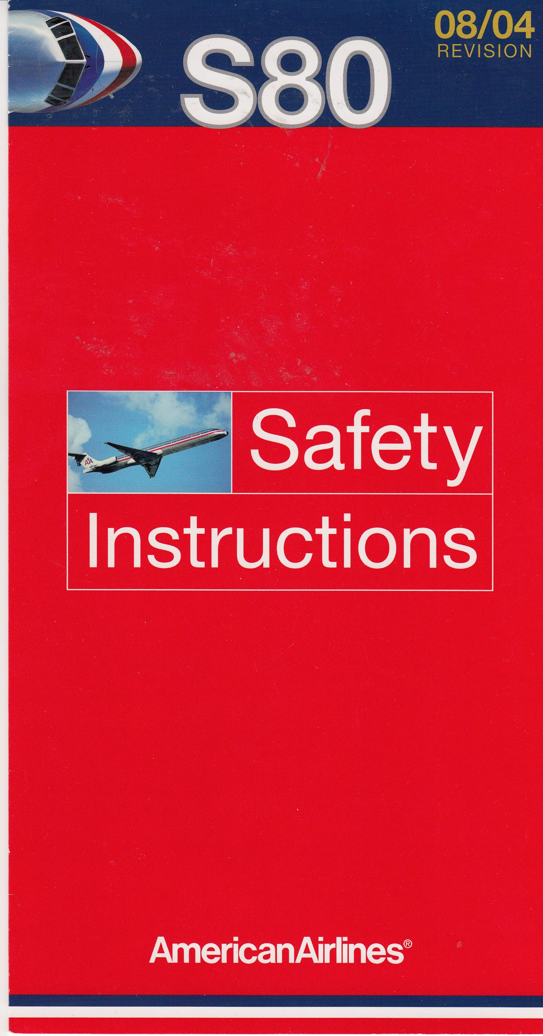 American Airlines Super 80 Safety Card