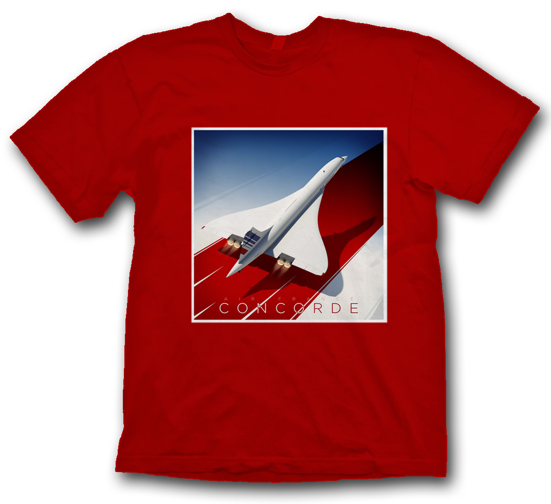 Air France Concorde Poster Shirt on Red