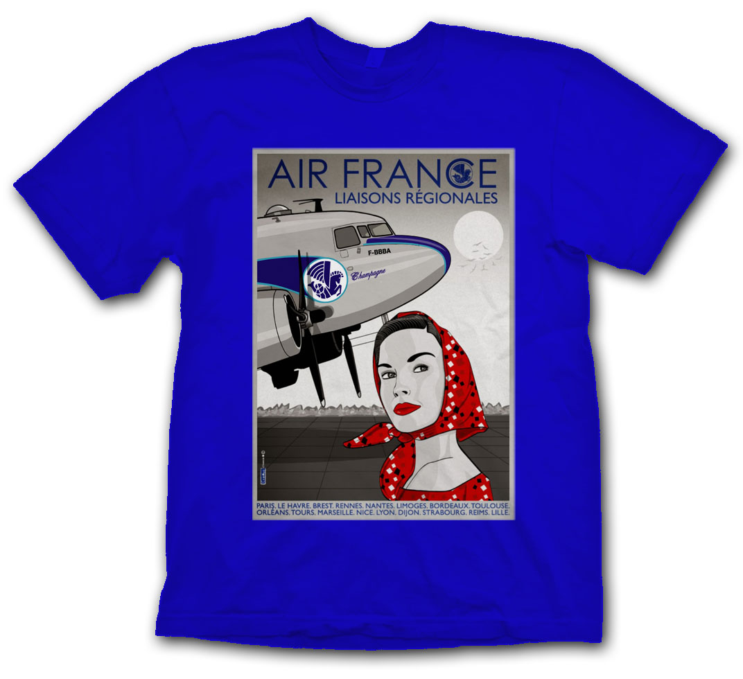 Air France DC-3 Girl Poster Shirt