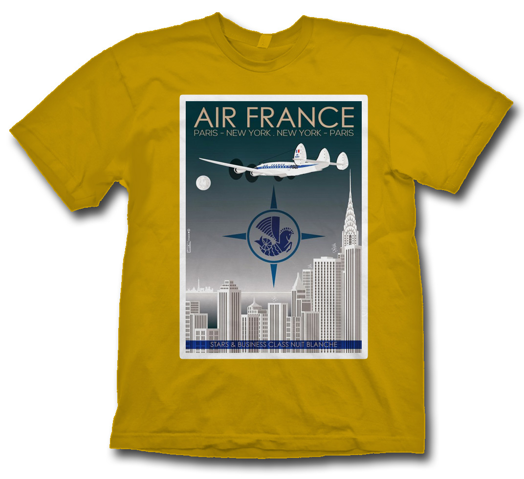 "Air France ""New York"" on Old Gold Poster Shirt"