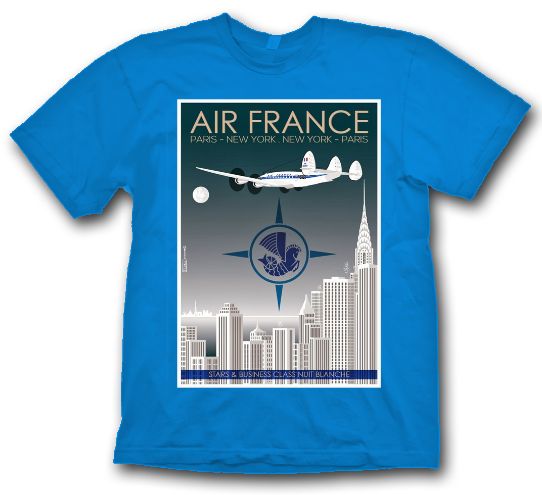 "Air France ""New York"" Poster Shirt on Blue."