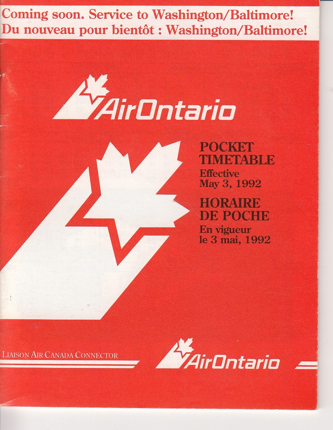 Air Ontario Timetable May 1992