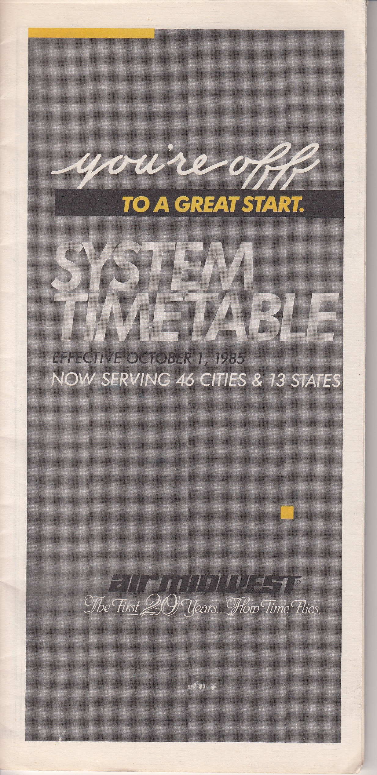 Air Midwest Timetable Oct 1985