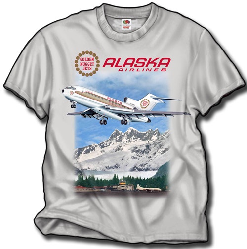 "'Alaska ""Golden Nugget"" B727-100' from the web at 'http://skyshirts.com/images/Alaska B727 on shirt.jpg'"