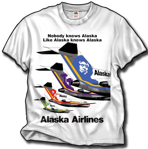 'Alaska Airlines B-727 Tails' from the web at 'http://skyshirts.com/images/AlaskaTails_500.jpg'