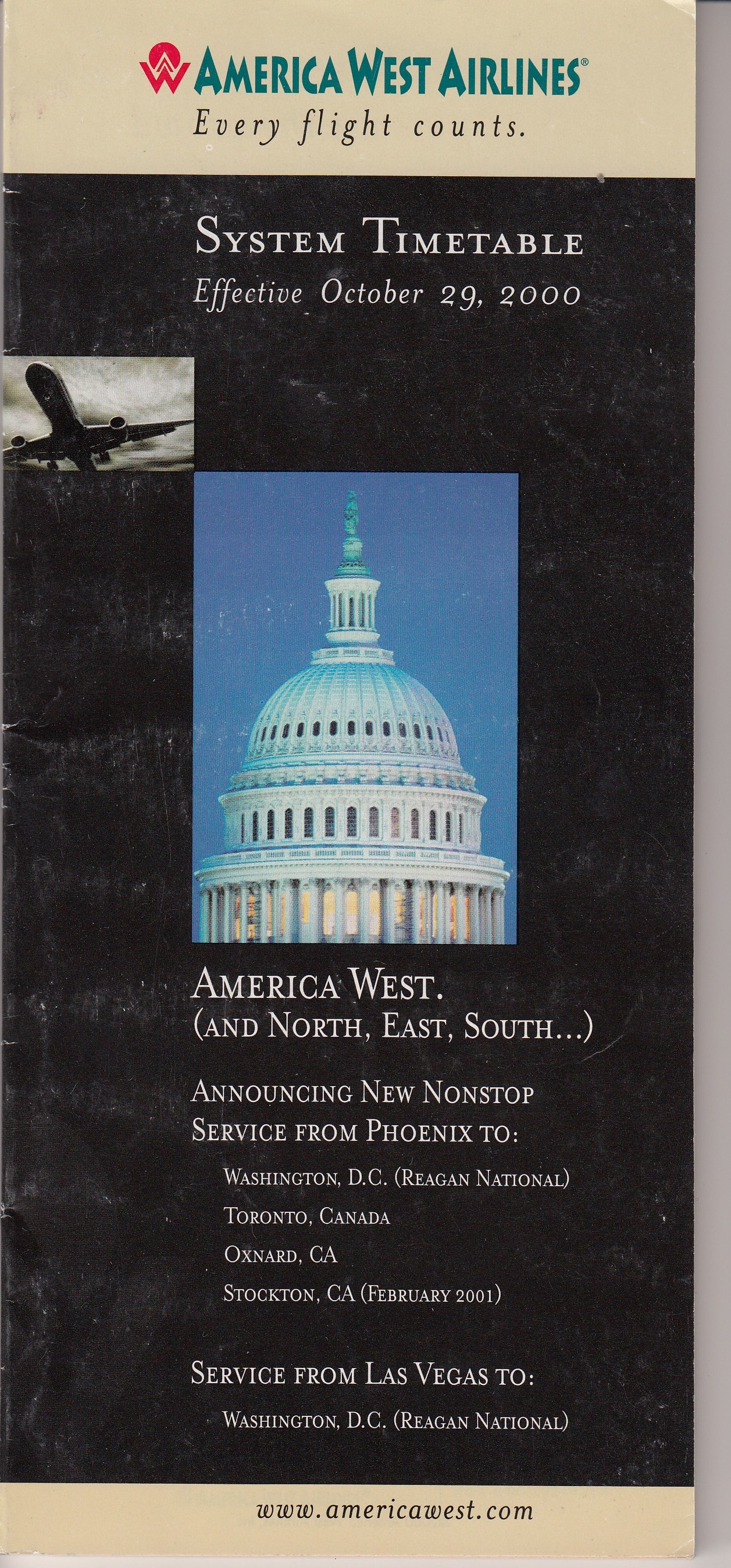 America West Timetable October 29, 2000