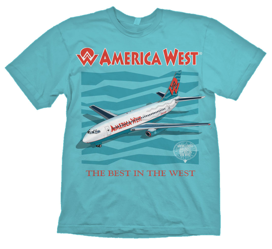 'America West B-737-200' from the web at 'http://www.skyshirts.com/images/AmWest737_1072.jpg'