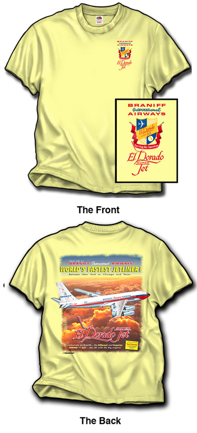 "'Braniff 707 ""El Dorado""' from the web at 'http://www.skyshirts.com/images/Braniff 707.jpg'"