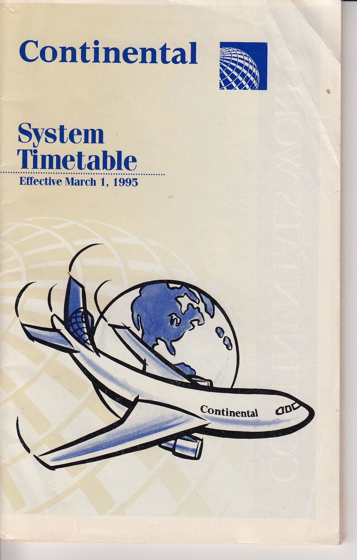 Continental Airlines Timetable - March 1995
