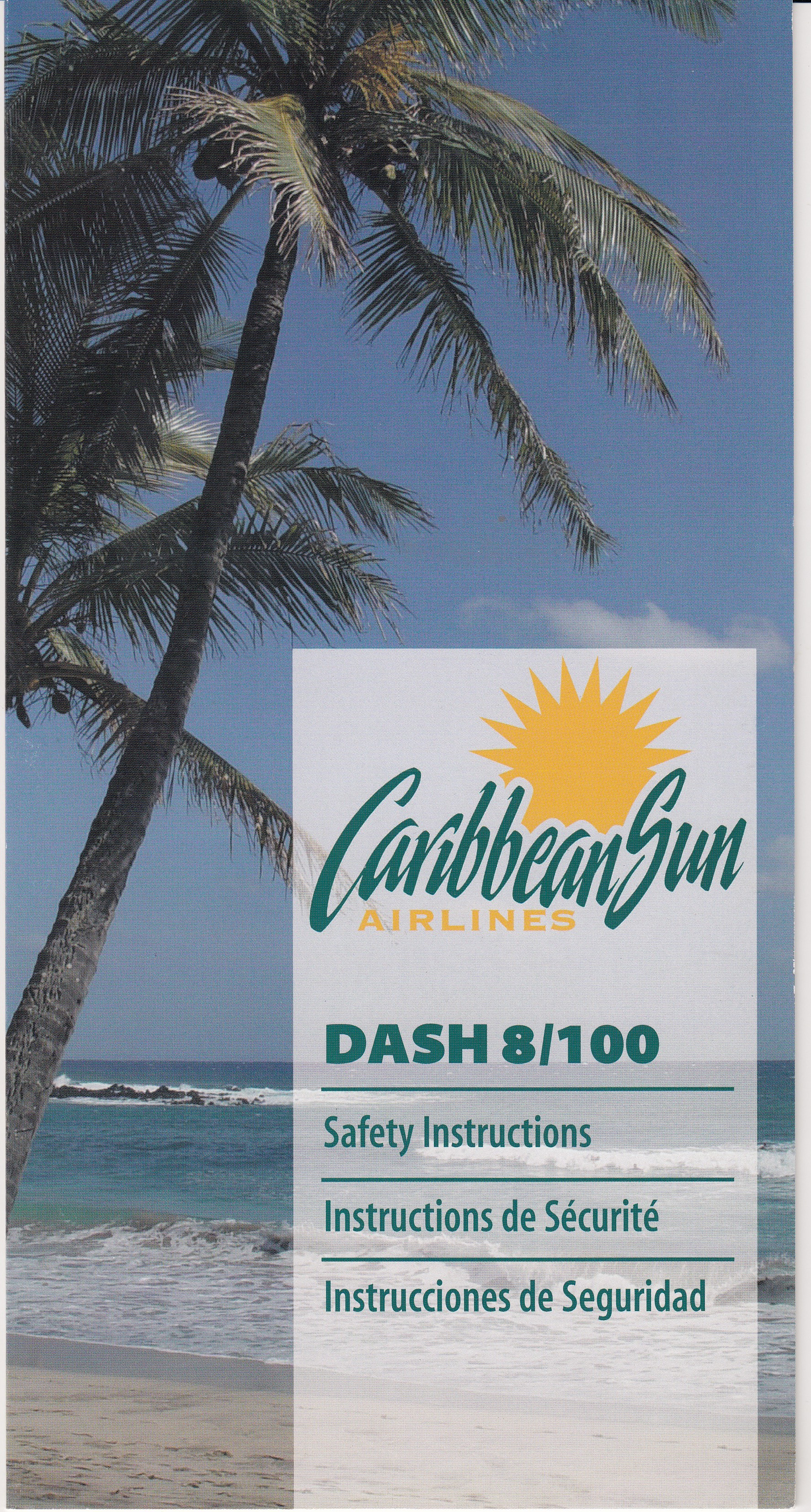 Caribbean Sun Dash 8 Safety Card