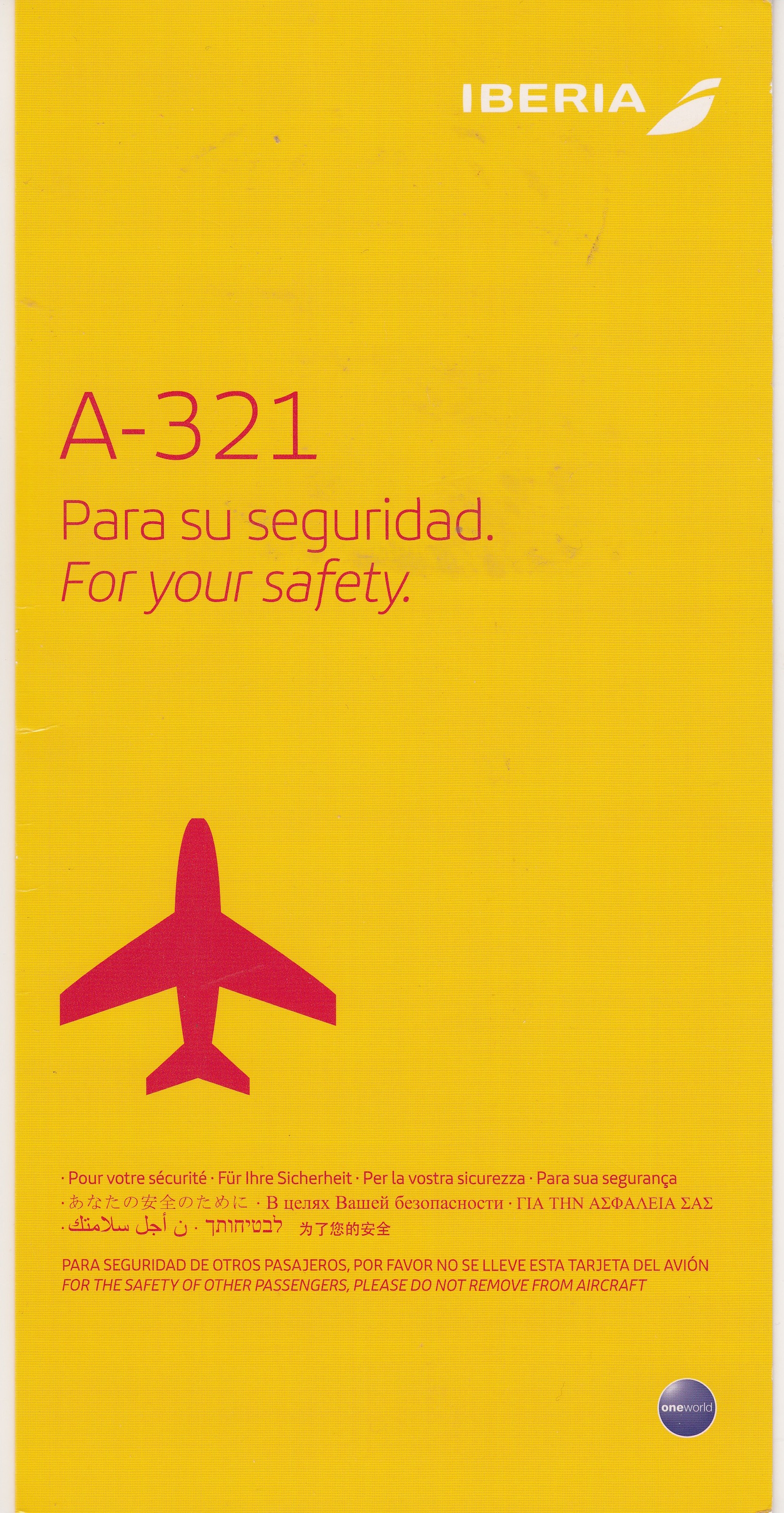 Iberia A-321 Safety Card