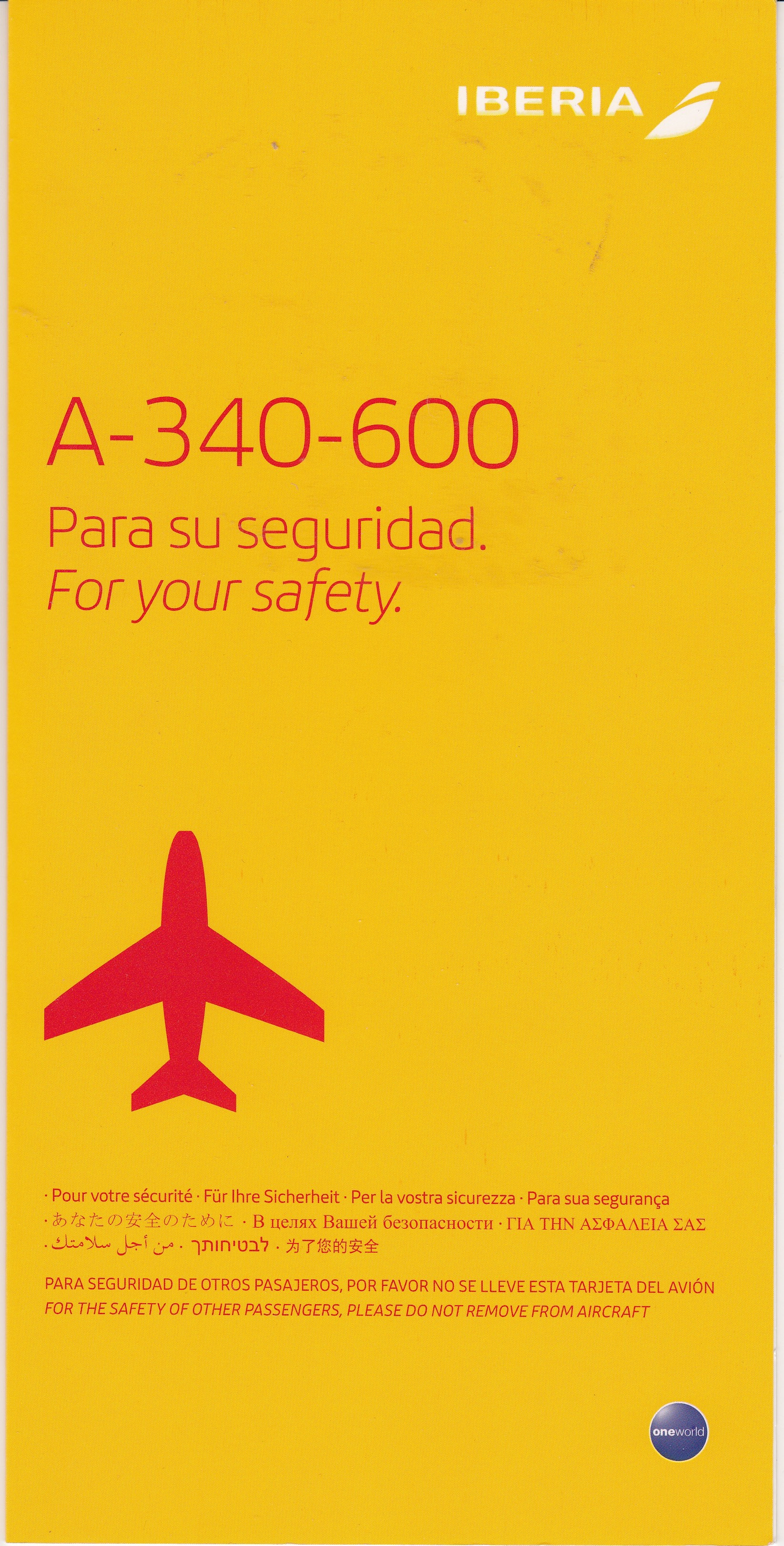 Iberia A-340 Safety Card
