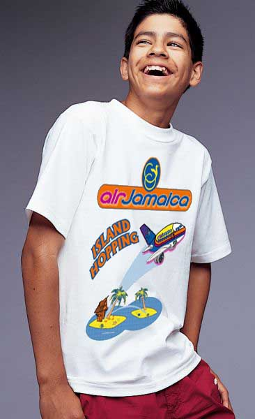 'Air Jamaica Kid's Shirt!' from the web at 'http://www.skyshirts.com/images/JamaicaKids copy.jpg'