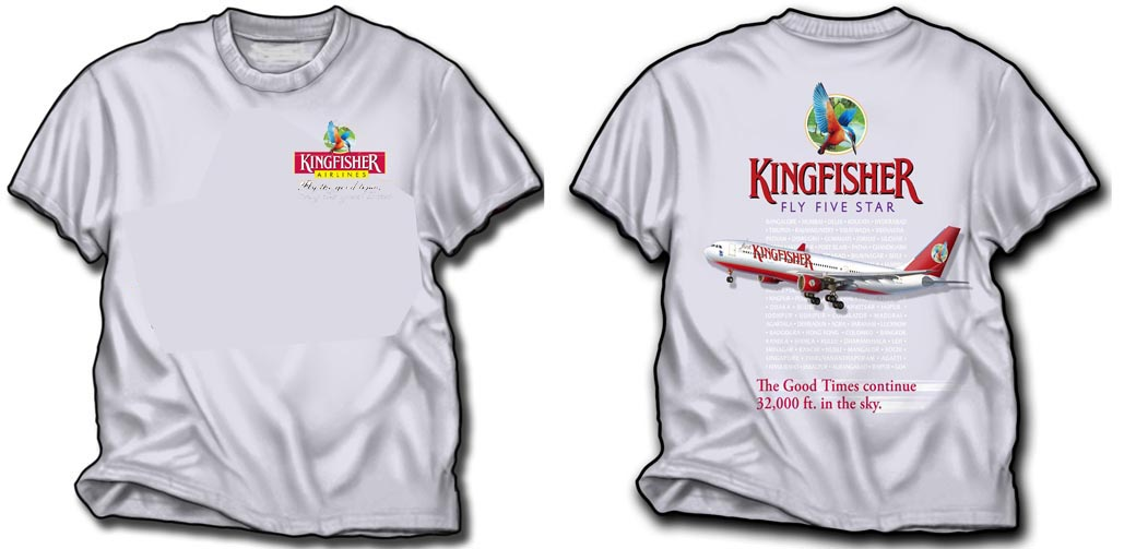 'Kingfisher A330 with smaller chest design.' from the web at 'http://www.skyshirts.com/images/KingfisherFront500SLC.jpg'