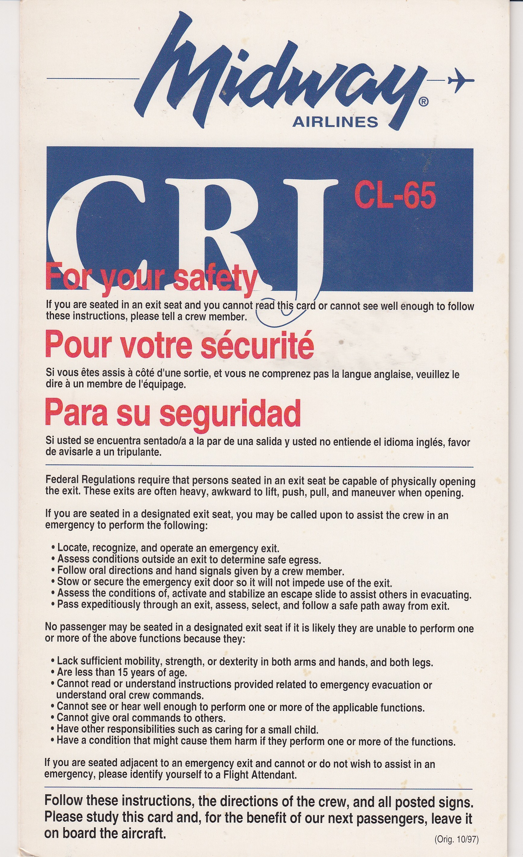 Midway Airlines CRJ CL-45 Safety Card
