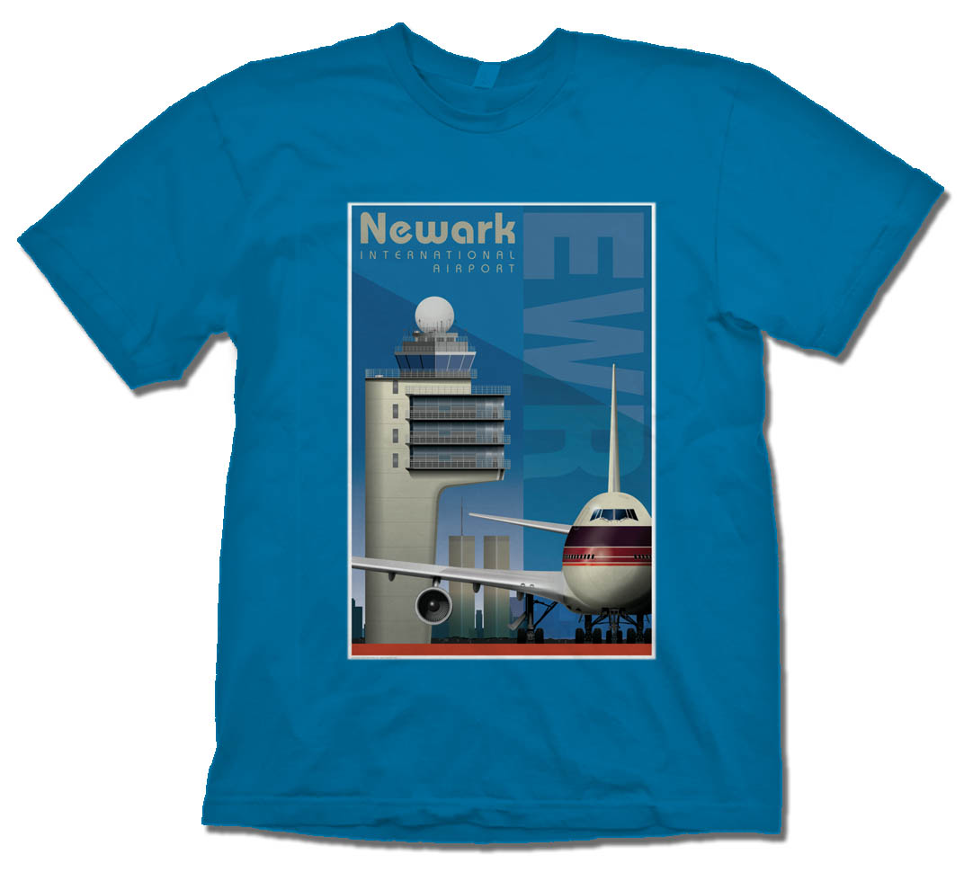 Newark Airport Tribute Shirt on Blue.