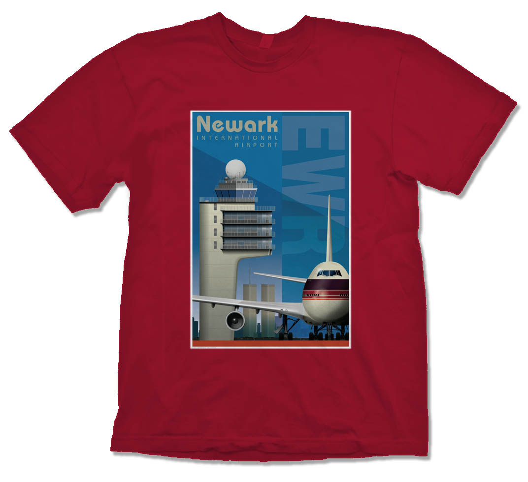 Newark Airport Tribute Shirt on Red