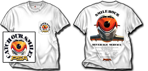 "'PSA ""Smile Hour"" Pocket T-Shirt' from the web at 'http://skyshirts.com/images/PSA_Pocket.jpg'"