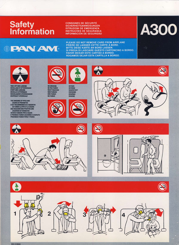 Pan Am A300 Safety Card