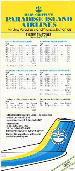 Paradise Island Airlines Timetable May 1991