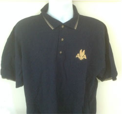 'American Eagle Logo Custom Polo!' from the web at 'http://skyshirts.com/images/PoloFinalStripe.jpg'