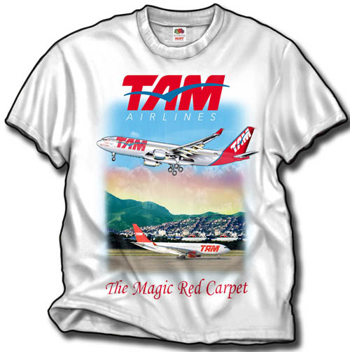 'TAM Airbus A330' from the web at 'http://www.skyshirts.com/images/TAMShirt500.jpg'