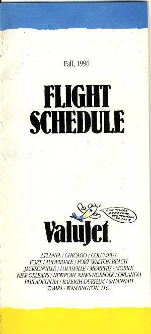 ValuJet Timetable Fall 1996