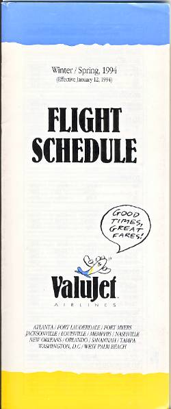 Valujet Timetable Winter 1994