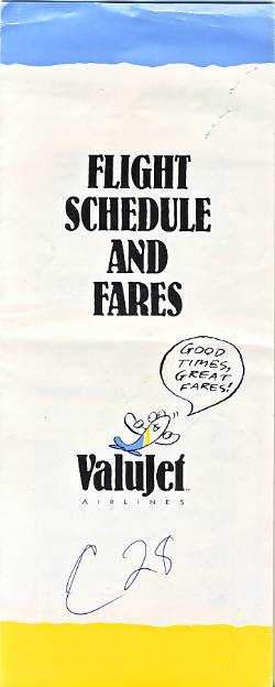Valujet Timetable Oct 1993