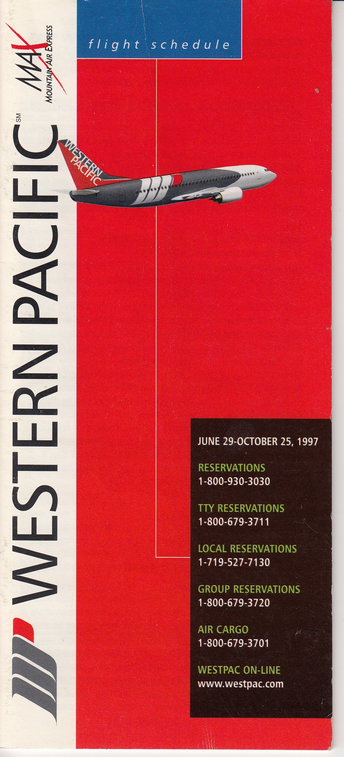 Western Pacific Timetable -October 1997