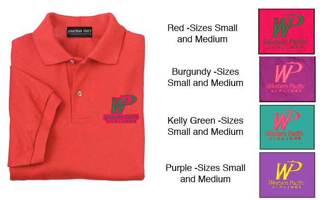 'Western Pacific Polo, Size Small, Medium, and Large!' from the web at 'http://www.skyshirts.com/images/WPPoloColors.jpg'