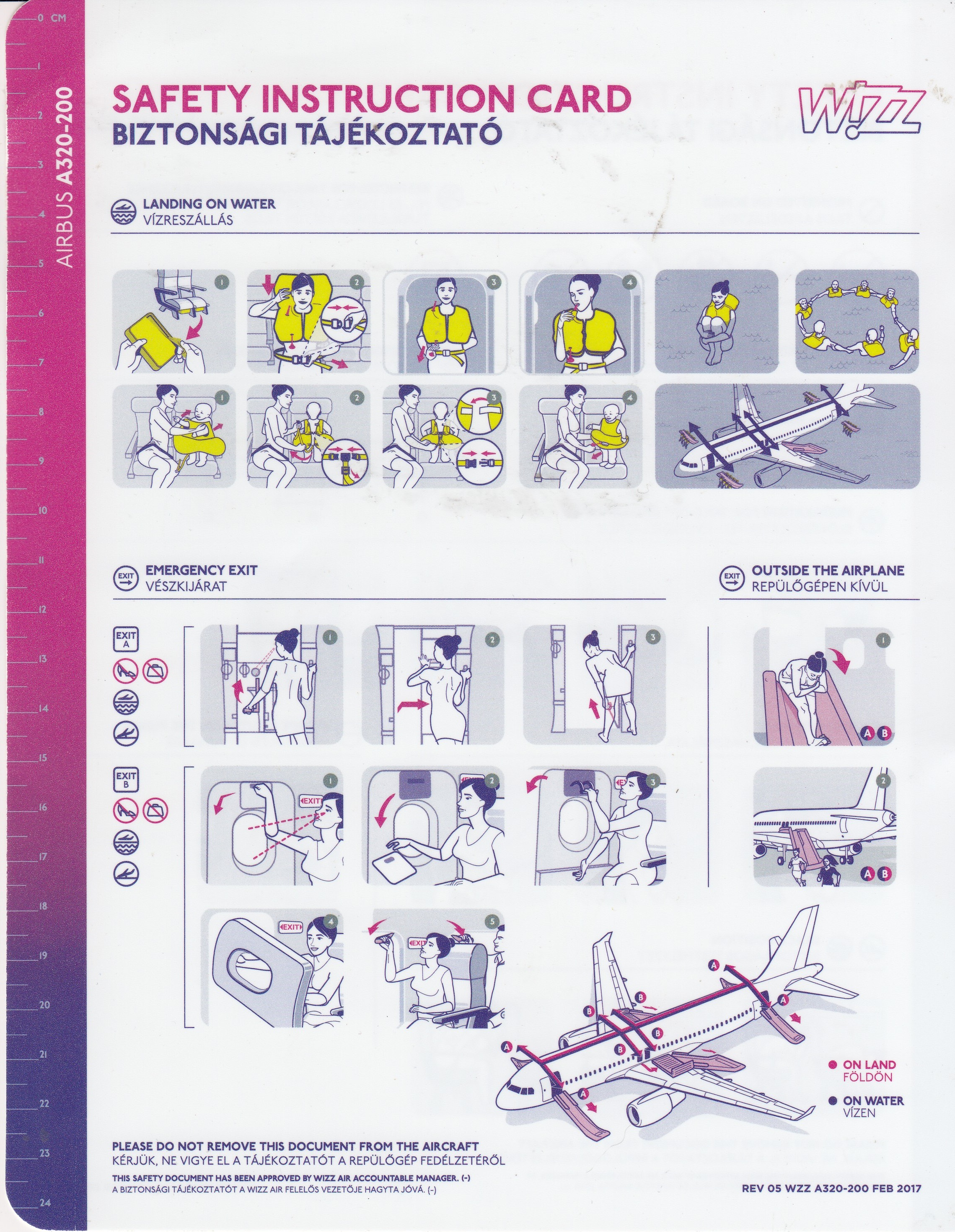 Wizz Air A320 Safety Card